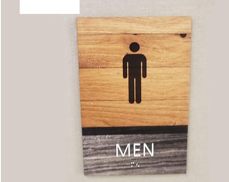 Men bathroom signs example in Dallas, TX