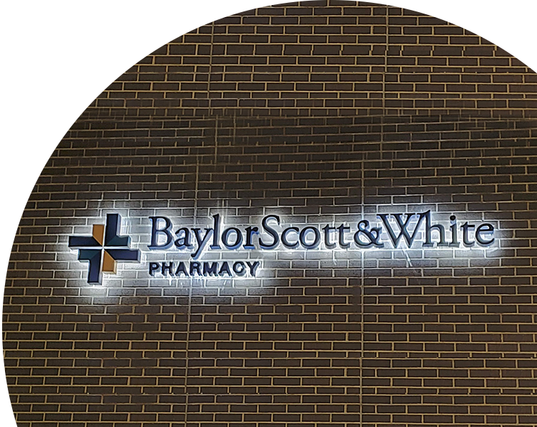 Illuminated channel letter signs for Pharmacy