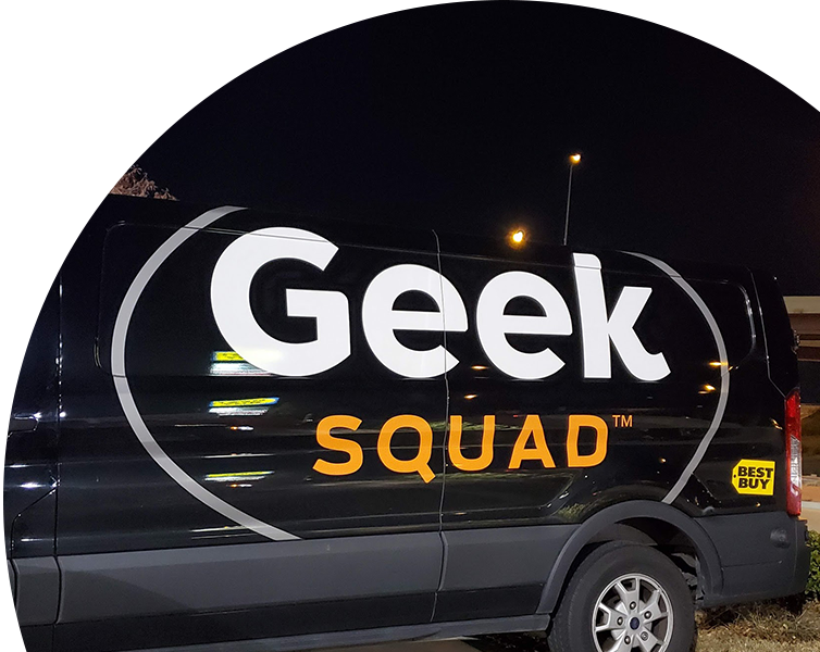 Geek Squad fleet wraps advertisement in Dallas, TX