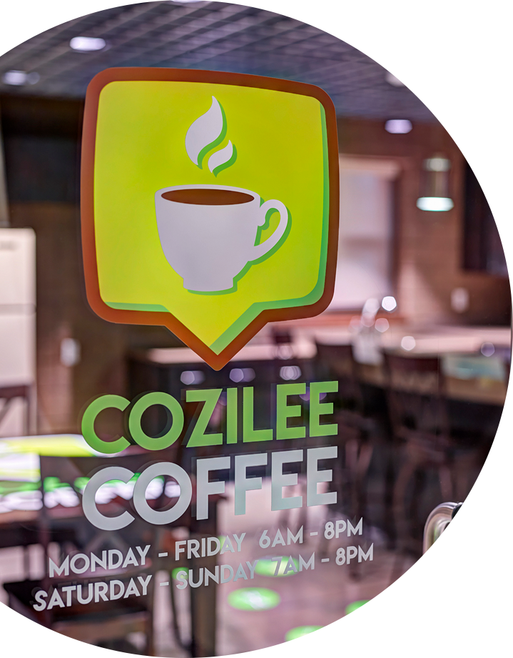 Custom printed vinyl window graphics for Coffee shop in Dallas, TX